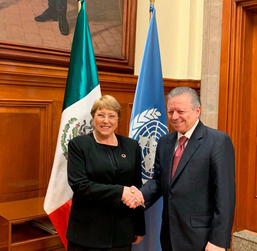 Reunión con Michelle Bachelet, Alta Comisionada de la ONU para los derechos humanos - Ministro Presidente Arturo Zaldivar