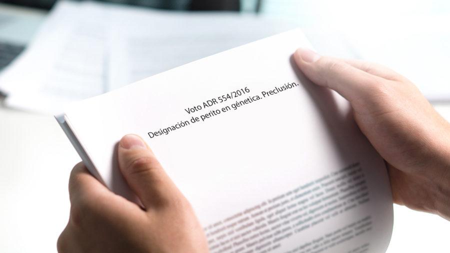 DESIGNACION DE PERITO EN GENETICA PRECLUSION
